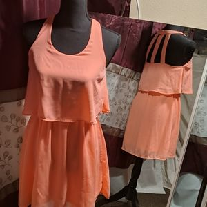 Peach colored rue 21  ruffle dress